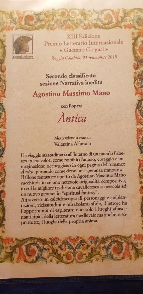 Àntica Romanzo Spiritual Fantasy - Premio letterario
